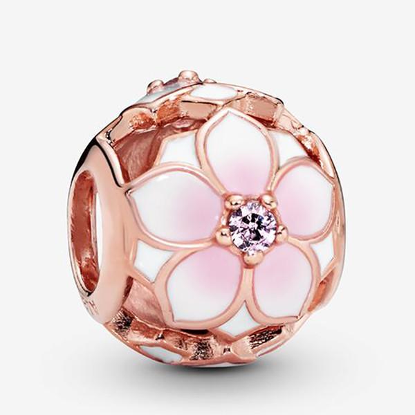 Амала стерлингового серебра 925 Ажурный Розовый цветок магнолии Шарм бисера с Cz Подходит для европейского Pandora ювелирных изделий Браслеты Ожерелья Подвески