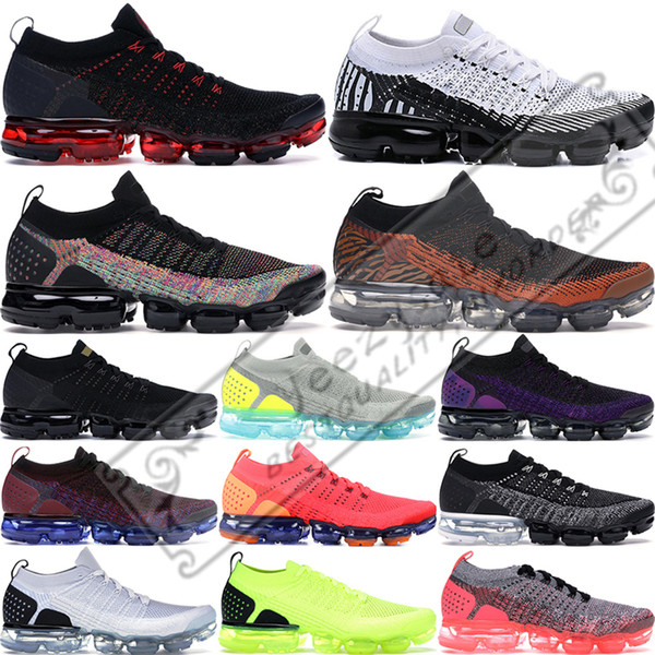 2019 Nike Air Vapormax Flyknit 2 Zebra Tiger Fly 2.0 Scarpe da corsa per uomo Donna Volt Triple Nero Bianco Mens Scarpe da ginnastica Cuscino Athletic Sports Sneakers 36-45
