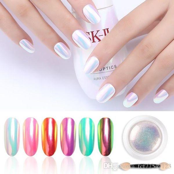 Tamax cromo pérola shell pó nail art glitter pigmento em pó brilhante de longa duração manicure unhas ponta decoração gel polonês poeira
