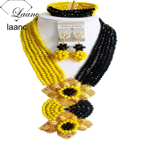 Laanc moda nigeriana festa di nozze Nero Giallo Insiemi dei monili perline africane monili di cristallo C6CHLK029
