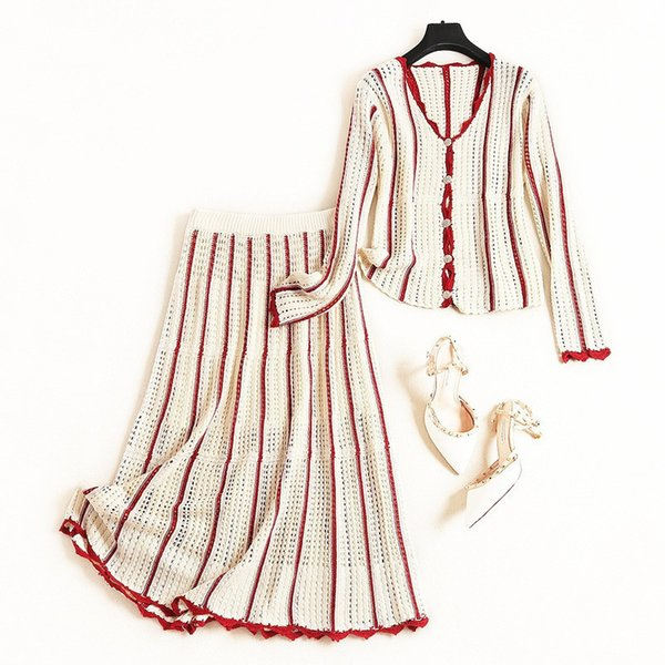 New 2019 Autumn Winter Fashion Women Striped Sweater Cardigan Hollow Out Long Skirt Suit Elegant Two Piece Set