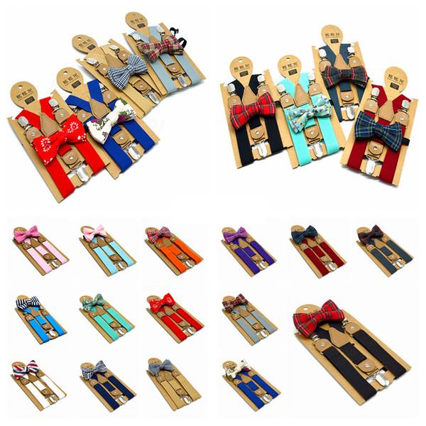 15styles Niños Tirantes Set Pajarita ajustable de Y-back de la correa Brace niños Clip-On Tirantes Boy smoking traje de impresión accesorios a juego FFA3205