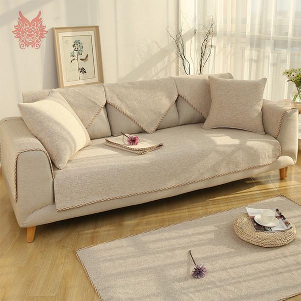 Europe de style lin coton épais gris beige café tissage Sofa canapé slipcovers meubles chaise canape couvre SP5343