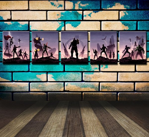 Avengers Infinity War Poster,5 Pieces Canvas Prints Wall Art Oil Painting Home Decor (Unframed/Framed)