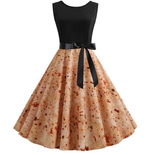 Summer Burrito Dress Mexican Pancake Printed Dresses Women Vintage Hepburn Sleeveless Sundresses Tortilla Printing Casual Dress GGA1959