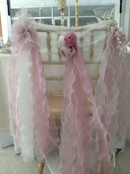 2019 Organza Ruffles Flowers Wedding Chair Sashes Romantic Beautiful Chair Covers Cheap Custom Made Wedding Supplies C02