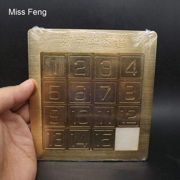 H340 / Collezione numero cinese da 1 a 15 Huarong Road Rompicapo Puzzle Modello Mind Intelligence Giocattoli Per Bambini Ottone Puro Metallo