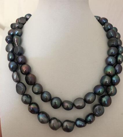 """Double strands 11-12mm tahitian black baroque green pearl necklace 18 """"19"""