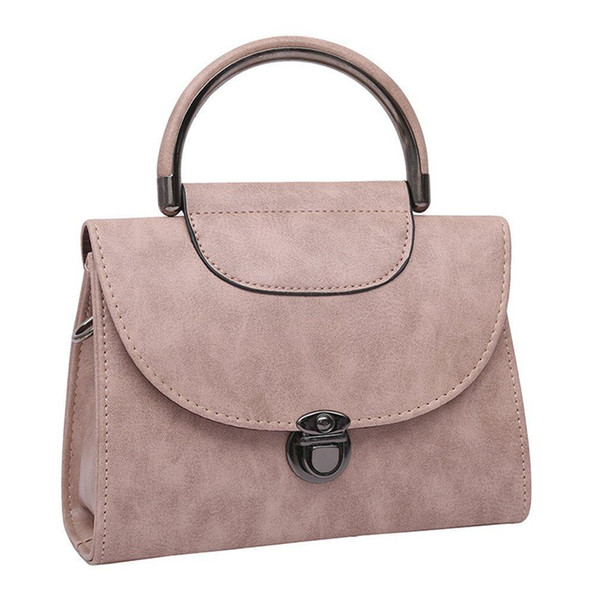 Womens Bag New Fashion Handbag Shoulder Slung Bag Woman PU Leather Messenger Iron Handle Lock Small Square