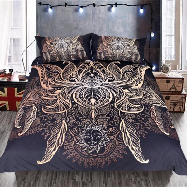 Kral Siyah Çoklu Boyutları Yatak örtüleri Set Lotus Yatak Seti Kraliçe Çiçek Bohemian Nevresim Güneş Baskı Boho Yatak