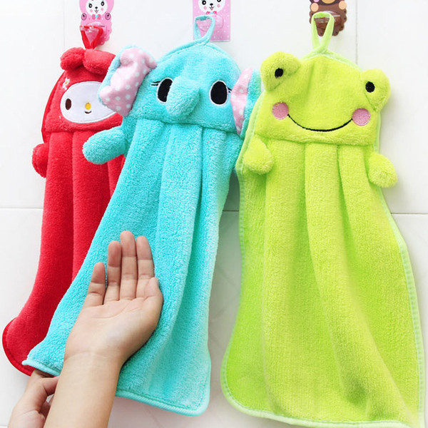 top popular 6 Colors Cartoon Animal Hand Nice Decoration for Bathroom Wish Towel Washcloths soft coral fleece kids towel wipe sweat hung towel M1764 2020