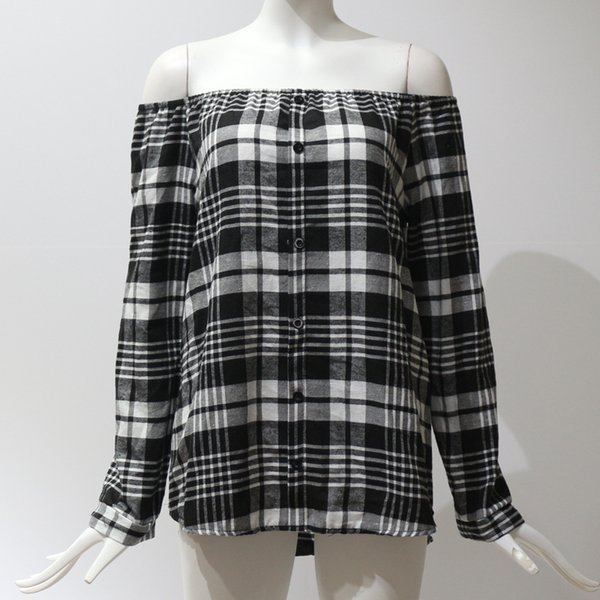 2019 Spring Women Plaid T-shirt Slash Neck Long Sleeves Single Breast Pullover Women Grid Printed Off Shoulder Blouse Wholesale