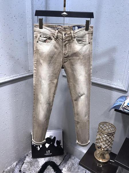 Jeans Designer Francês Sólidos Estilo Clássico Jeans Slim Fit Motociclista Motociclista Denim Designer de Moda Masculina Hop Mens Jeans Top Quality Tamanho 29-40