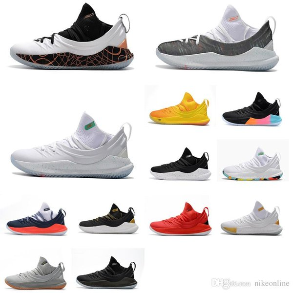 size 40 916c1 43d68 2019 Cheap 2018 New Mens UA Stephen Curry 5 Low Cuts Basketball Shoes Black  White Gold SC30 Sneakers Boots With Original Box For Sale From Nikeonline,  ...