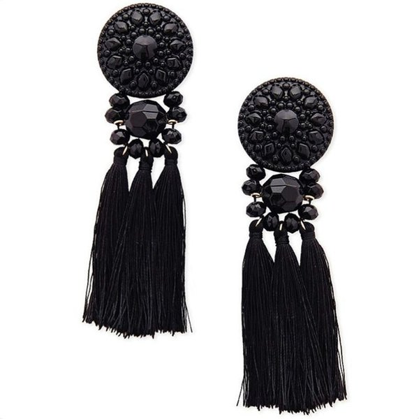 2018 Statement Ethnic Black Tassels Earring For Women Vintage Long Fringe Drop Earring With Stone Brincos Female Fashion Jewelry
