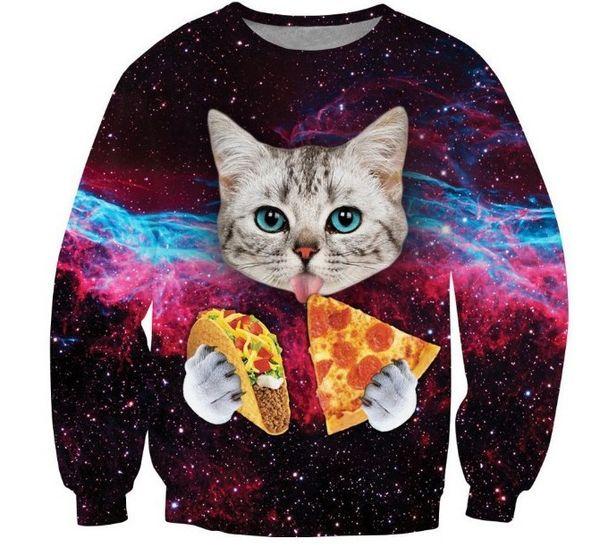 Galaxy Space Pizza Katze Sweatshirt 3d Print Casual Hoodies Frauen Männer Langarm Tier Hoody Pullover