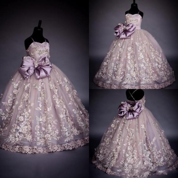 Princesse De Luxe Spaghetti Fleur Fille Robes Arc Ceinture Perles Perles Broderie Enfants Longueur Au Sol Robe De Bal Filles Pageant Robe
