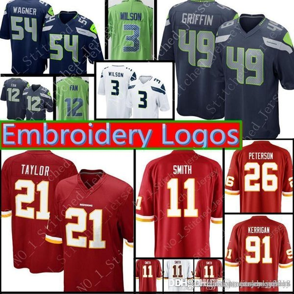 buy popular c4157 01e7a 2019 Washington Redskins 11 Alex Smith 49 Shaquem Griffin Seattle Seahawks  Jersey Mens 21 Taylor 91 Kerrigan 26 Peterson 3 Russell Wilson Jerseys From  ...