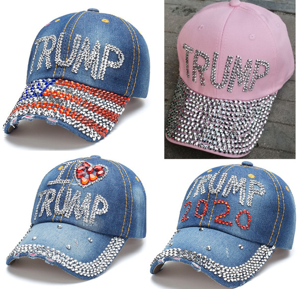 best selling 5 types hot sale trump 2020 baseball cap USA hat election campaign hat cowboy diamond cap Adjustable Snapback Women Denim Diamond hat DHL