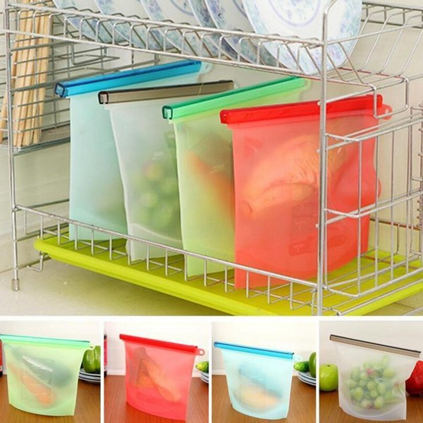 Reusable Silicone Food Fresh Bags Wraps Fridge Food Storage Containers Refrigerator Bag Kitchen Colored Ziplock Bags 4 Color A190315 100PCS