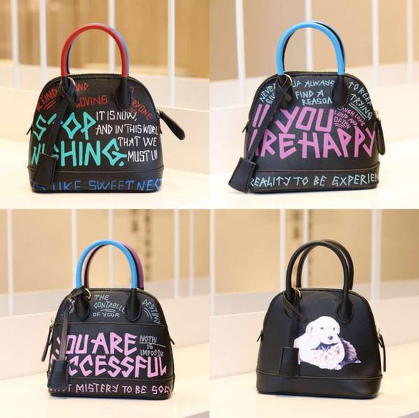 Small Shell Bag Split Leather Female Handbag Messenger Bag Fashion Lady Top Handle Simple Print Design Summer Womens Crossbody Bags