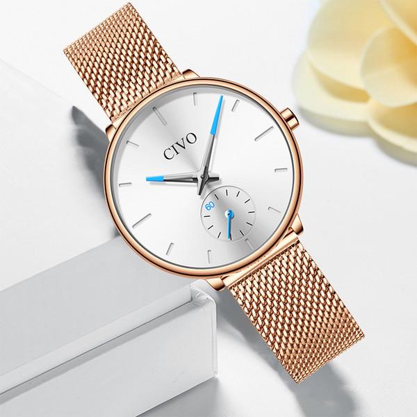 CIVO Mesdames Montres étanche en acier Mesh Bracelet femmes de luxe Montres Quartz Mode Femmes Horloge Montre Femme