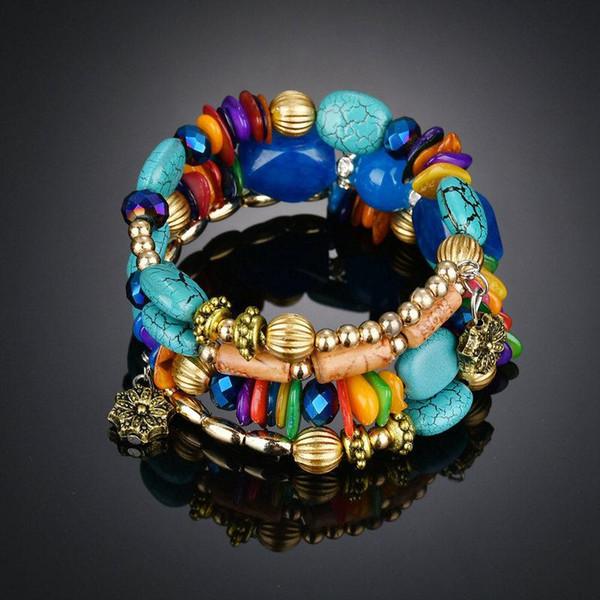 Mode Femmes Bracelets Bijoux Rétro Imitation Pierre Naturelle Pin Agated Perlé Multi-couche Enroulement Bracelet Cadeaux pour Femmes