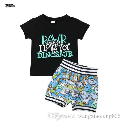 Hot Sale Dinosaur Pattern Clothes For Boys Toddler Baby Boy Summer Short Sleeve Letter Pattern Tops T-shirt+Printed Shorts 6M-4T