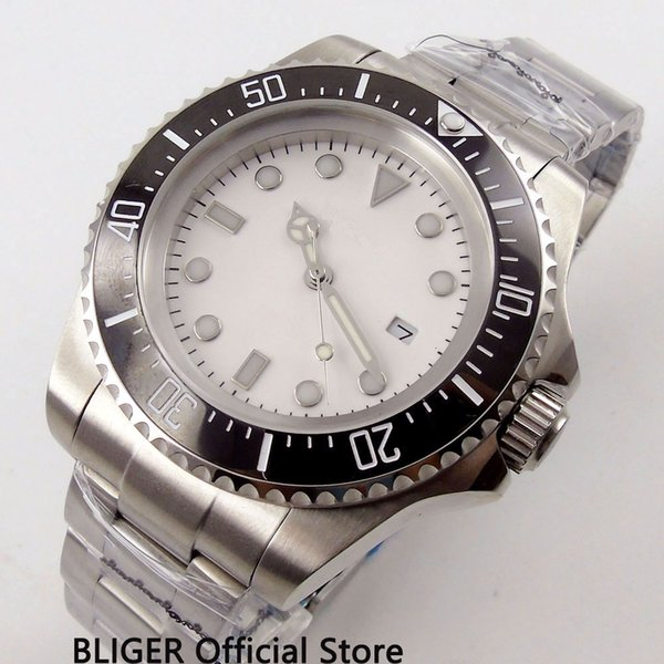 Business BLIGER 44MM Men's Watch Sterile Watch Face Ceramic Bezel Date Window Luminous Automatic Movement