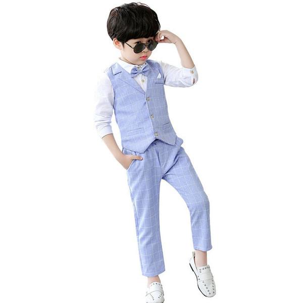 2019 New Kids Boys Suit For Wedding Piano Party Children Boys Plaid Vest+Shirt+Pant 3Pcs Baby Boy Suits Formal Clothes Set Y182