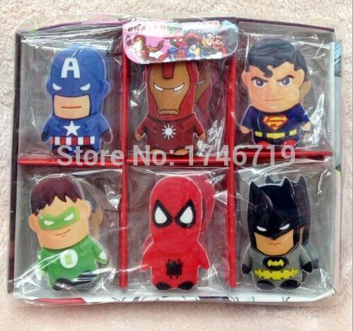 Wholesale-Free Verschiffen mischte Superhelden 30pcs / set das Radiergummi-Briefpapier für Kind-Geschenk WD034
