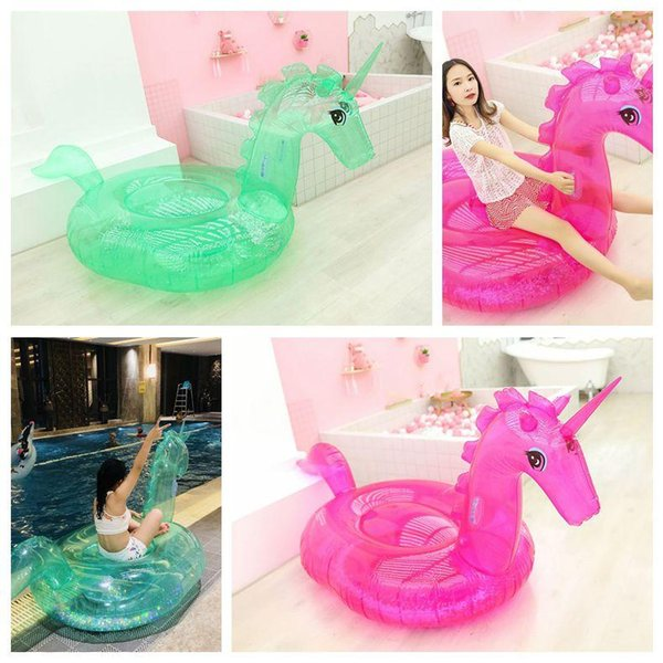 top popular Sequins Transparent Unicorn Floats Adult Flamingo Float Swimming Ring Adult Sequins Life Buoy Floating Ring Outdoor Play CCA11540 2pcs 2019