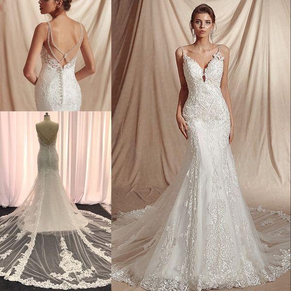 Robes de mariée sexy sirène col en V 2020 bretelles spaghetti Vintage dentelle perles Perler modèle sans manches robes de mariée