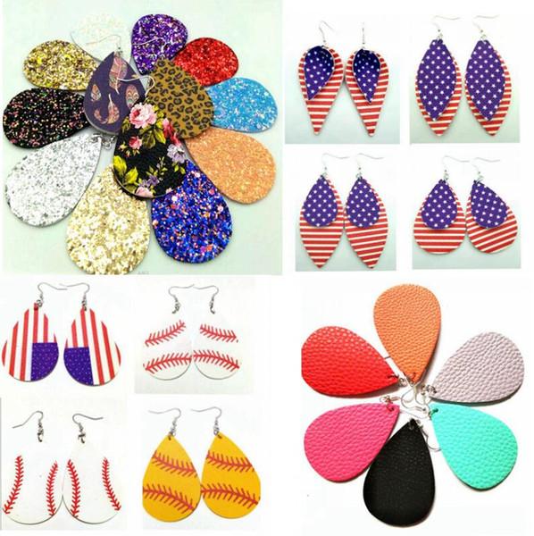 Regalo de Navidad Estilo Kendra PU cuero brillo brillante Oval Pendientes Moda cuelga los pendientes para las mujeres