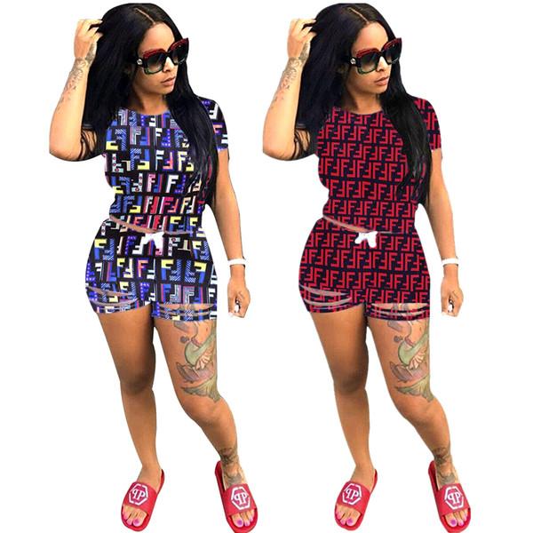 Survêtement femme été Designer deux pièces Short Set Multi FF Lettre Imprimer tenues de mode décontractée à manches courtes Top Trou Hot Pants Costume Rouge