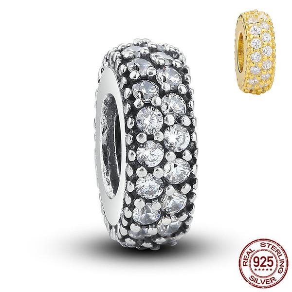 Authentische 925 Sterling Silber spacer perlen Bling CZ zirkonia Stein Großes Loch Lose Europäische perlen Für Charme Armband DIY Schmuckherstellung