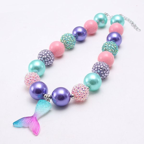 best selling Cute Mermaid Tail Pendant Girls Chunky Beads Necklace Colorful Bubblegum Necklace For Child Kids Gift Jewelry