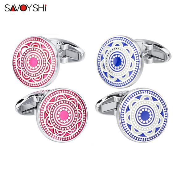 SAVOYSHI Fashion Shirt Cufflinks For Mens High Quality Red/Blue Enamel Flower Pattern Cuff links  Male Cuff Accessories