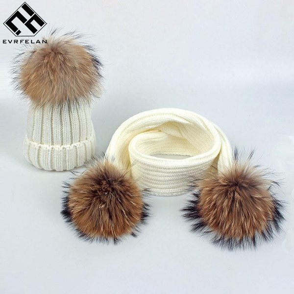 Evrfelan 2 Pieces Set Children Winter Hat Scarf For Girls Hat Real Fox Fur Pom Pom Beanies Kids Cap Knitted Winter Hat Wholesale