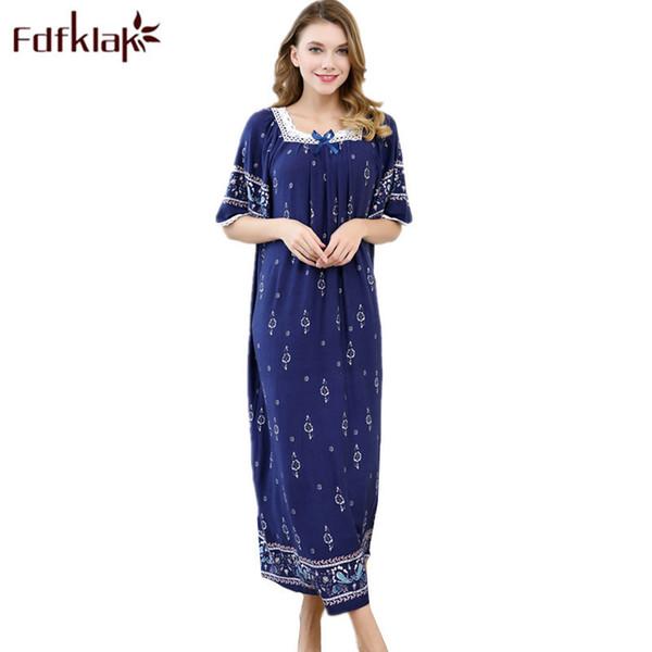 Fdfklak Summer Nightgown Night Dress Nighties For Women Sleeping Dress Cotton Nightgowns Women Plus Size Sleepwear Q1005 Q190517