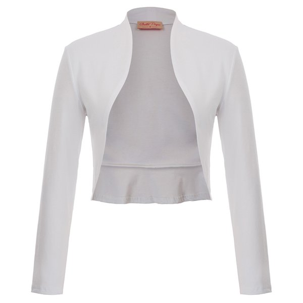 classic black white short Women jacket Vintage Chaqueta de mujer Long Sleeve Open Front Ruffled Hem Cotton Bolero Shrug Tunics