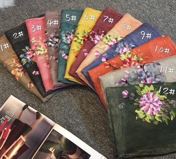 2017 women fashion cotton silk scarf shawl collar girl wind peony embroidery free shipping in China