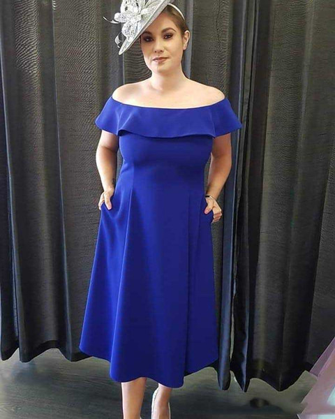 Elegant Royal Blue Mother Of Bride Dresses with Bateau Neck Satin Formal Evening Party Dress Women Prom Gowns Plus size