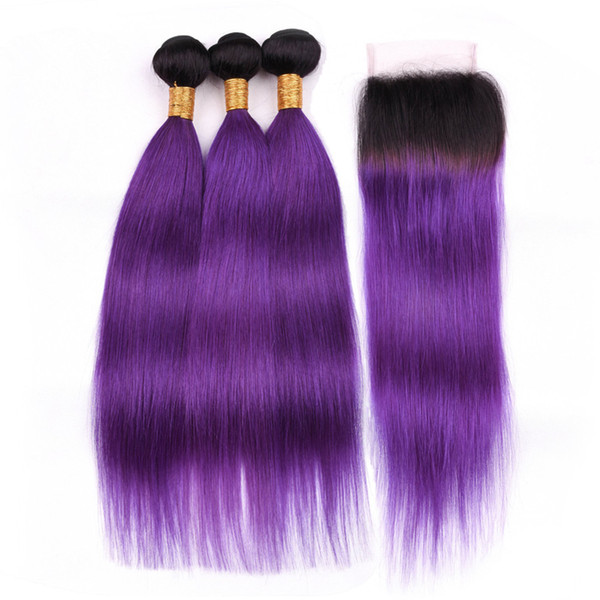 Indian Human Hair #1B/Purple Ombre Straight Weave Wefts with Closure Ombre Purple Virgin Hair 3Bundles Dark Roots with 4x4 Lace Closure