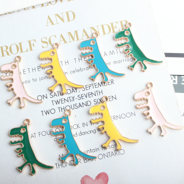 10pcs Enamel Colorful Dinosaur Charm For Jewelry Making Fashion Eardrop Bracelet Pendant Fashion Charms DIY Making Accessories