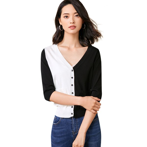 Mode schwarz weiß hit farbe v-ausschnitt frauen pullover 2019 neue ankunft frühling schlank einreiher strickjacke strickpullover