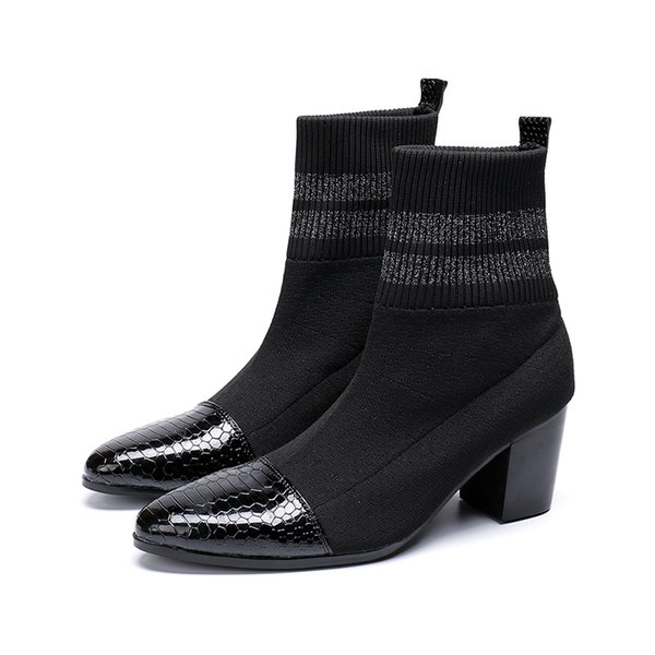 6CM High Heels Men Boots Pointed Toe Black Leather Men Handsome Ankle Boots for Men Wedding & Party