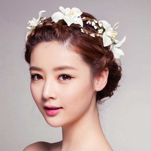 Kadınlar Düğün Çiçek Kafa Saç Aksesuarları El Yapımı Gelin Çelenk Plaj Garland Boho Çiçekler Şapkalar Kız Headbands