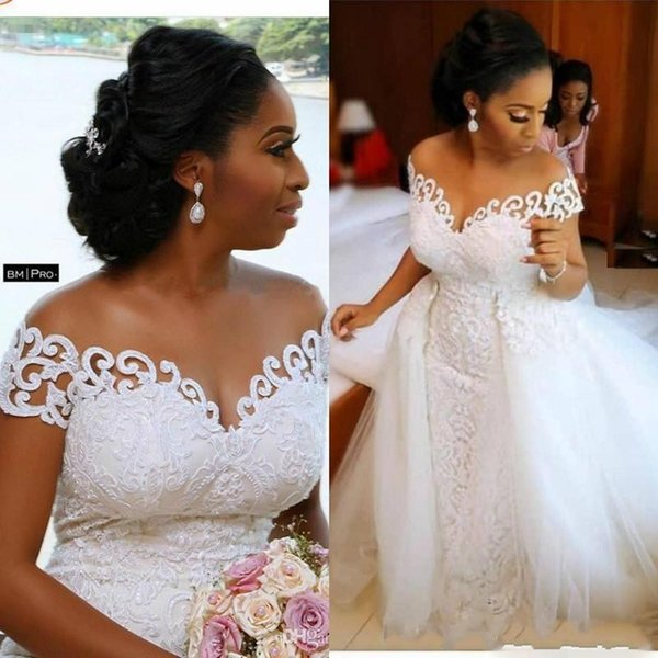 New Luxury African Mermaid Wedding Dresses Off Shoulder Lace Appliques Tulle With Detachable Train Plus Size Black Girl Formal Bridal Gowns