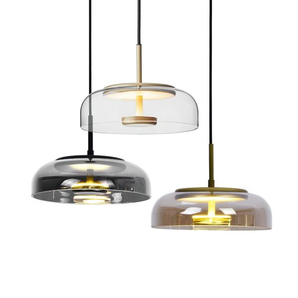 Lustre moderne Led Éclairage Salon Bar Salle à manger Lustre contemporain nordique Plafonnier en verre Lustre